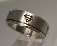 Superman Stainless Steel Spinner Wedding Bands in Clarksville, Tennessee