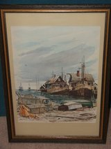 Robert Hansellmann  Lobster boats in Menemsha Harbor Martha's Vineyard  Watercolor in St. Charles, Illinois